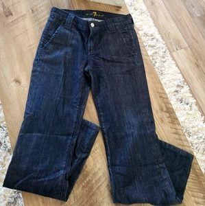 7 for all mankind trouser wide leg jean dark wash